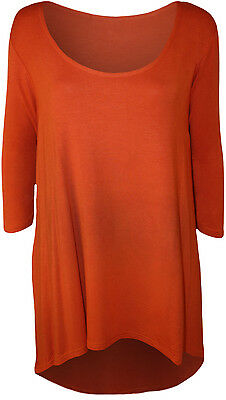 NEW LADIES PLAIN DIP HEM LONG SLEEVE WOMENS PLUS SIZE STRETCH T-SHIRT TOP 14-28