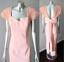 Retro Crepe Vintage 80s Sweetheart Bow Plunging Back Maxi Cocktail Party Dress M
