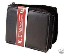 New Mens Bifold Zipper Around Dark Brown Leather Wallet Secure id cards Window