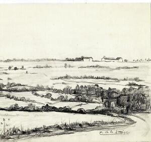 Landschaft-Zeichnung-Unterzeichnet-M-Der-Jarrige-Illustrator-Von-Presse-1930