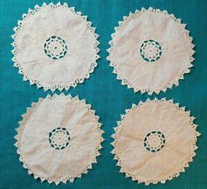 4-Vintage-Cream-Round-Crochet-Linen-Embroidered-Doily-Lot-Cut-Work-Needlework-8-034
