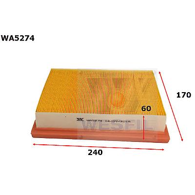 WESFIL AIR FILTER BARINA 2011-2019 WA5274