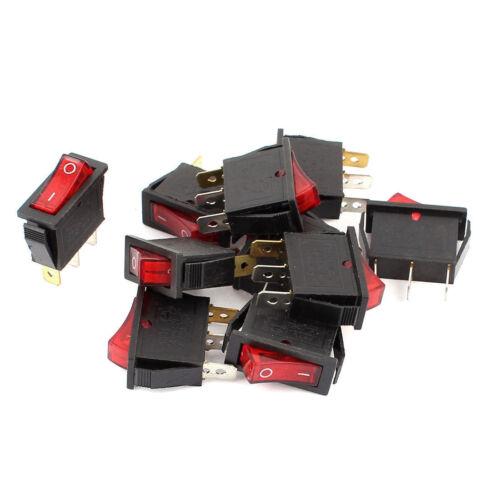 10 Pcs 3Pin SPST On//Off Interruptor Panel De Luz Roja AC 250V 15A