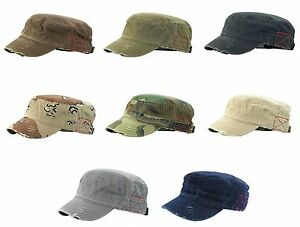 Image is loading MG-Distressed-Washed-Cotton-Cadet-Army-Cap-Mega- 134940068df