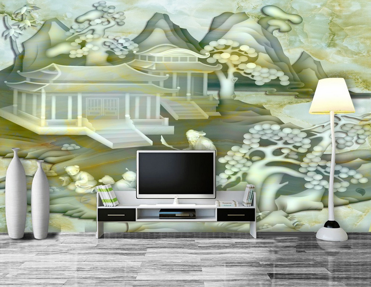 3D Painted Courtyard Paper Wall Print Wall Decal Wall Deco Indoor Murals