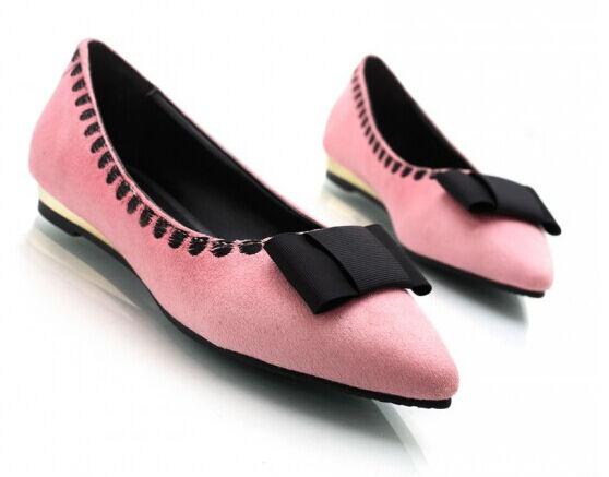Ballerinaschuhe damenschuhe nap der erde rosa absatz 1.5 schleifchen mode 8791