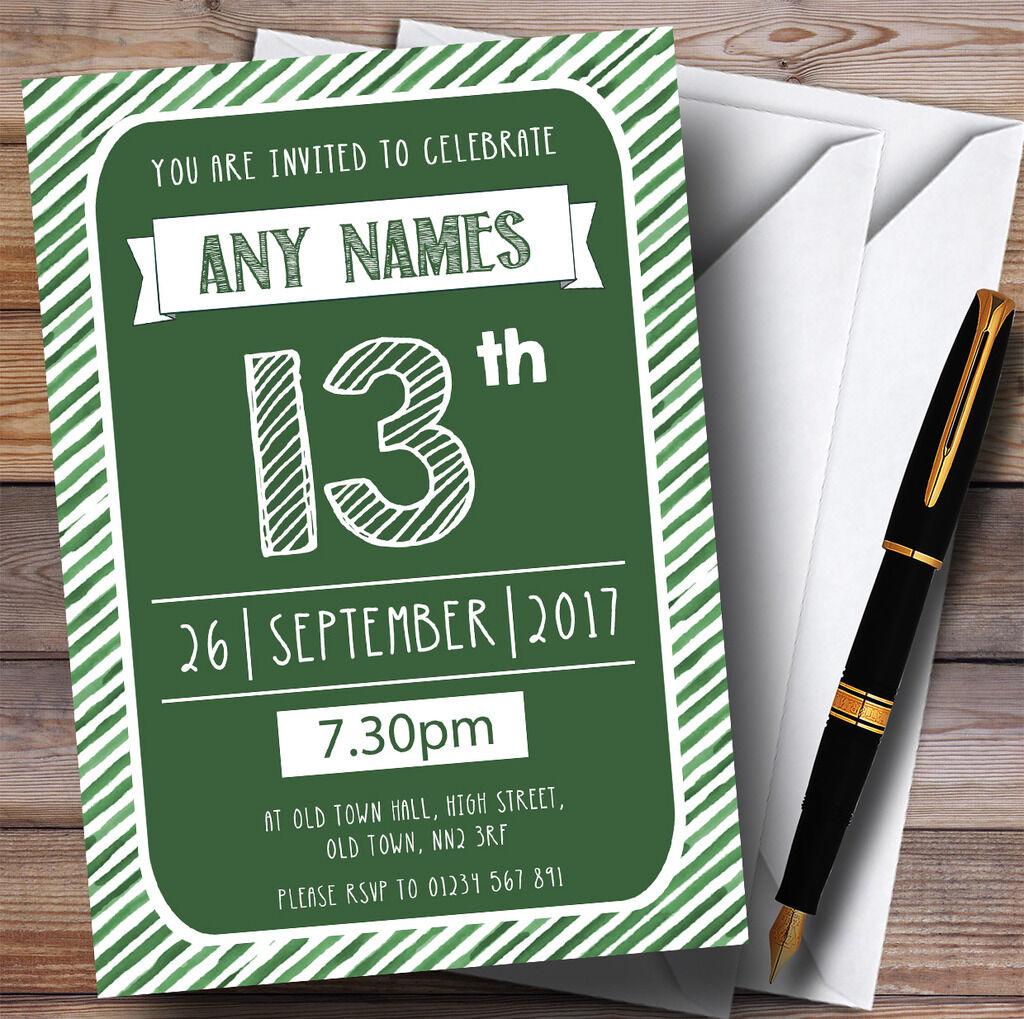 Grün & Weiß Stripy Deco 13th Personalised Birthday Party Invitations
