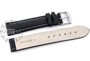Amical Xxl Bracelet Pour Montre Boucle Ardillon - Cuir,lisse Noir Avec Couture Blanche Utilisation Durable