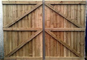 Image Is Loading Wooden Garden Gate Driveway Gate Double Gate Heavy