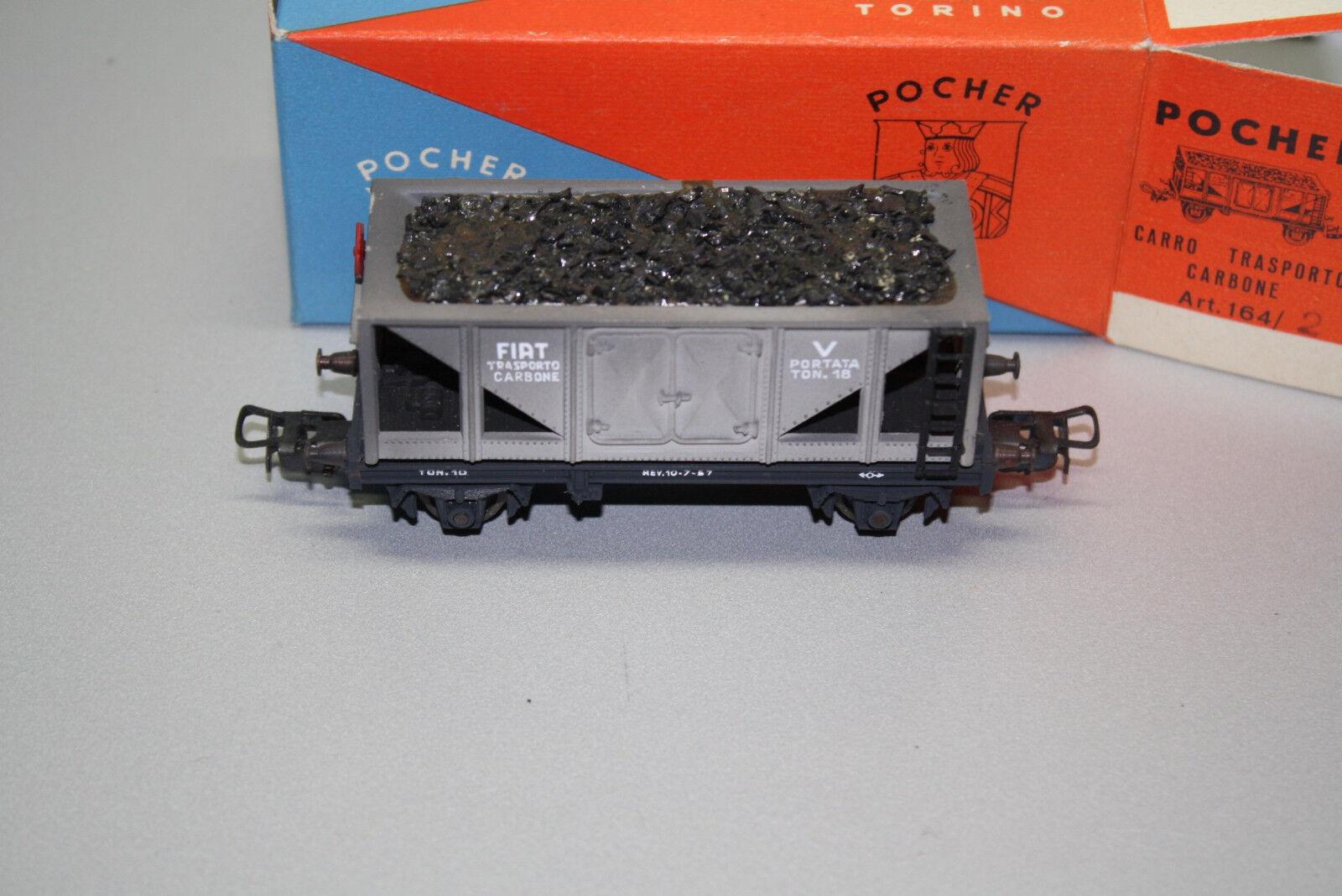 POCHER 164/2 2-camion carbone carrello trasporto FIAT traccia h0 OVP