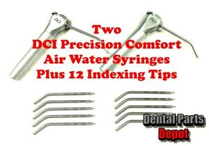 2-New-DCI-Precision-Comfort-Dental-Air-Water-Syringes-Plus-12-Anti-Rotation-Tips