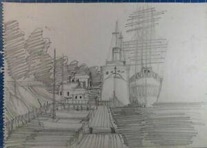Rolf-Janssen-Wilhelmshaven-Zeichnung-unsigniert-O-2230