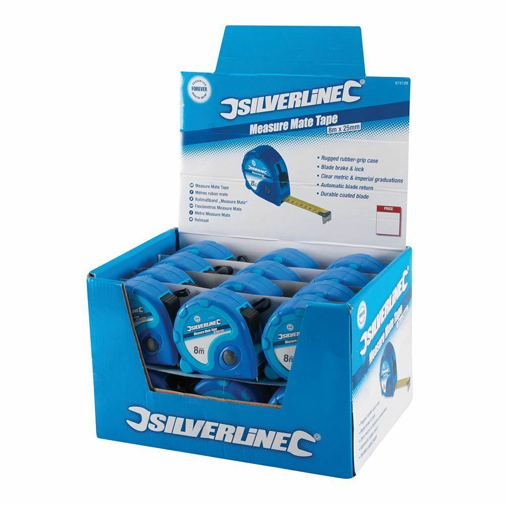 Silberline Measure Mate Tape Display Box 24pce 8m   26ft x 25mm 675126