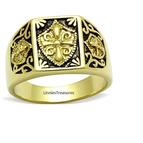 Knights Templar Ring Stainless Steel 14k Gold IP Masonic Freemason Coat of Arms