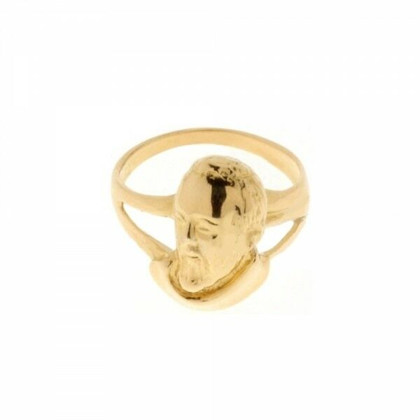 Yellow gold 18k 750 1000 with Padre Pio shiny ring