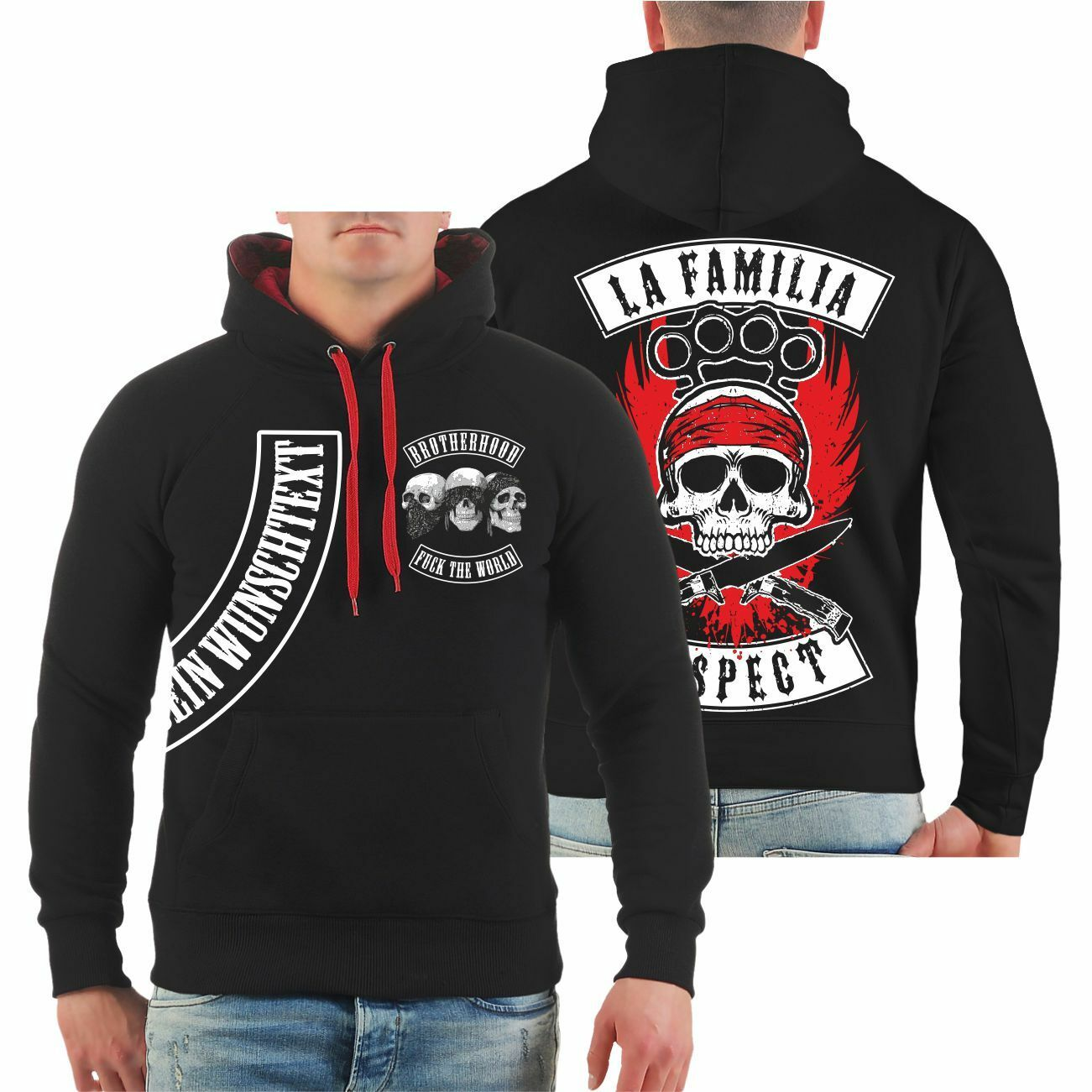 Kapuzenpullover Hoodie WUNSCHTEXT WUNSCHNAME individuell La Familia Respect