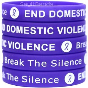 10 End Domestic Violence Bracelets Debossed Silicone Awareness Wristbands