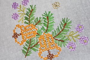 GOLDEN CHRISTMAS BELLS & PURPLE FLOWER BUDS! VTG GERMAN HAND EMB TABLECLOTH