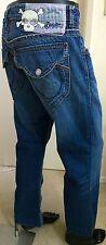 Blue Tattoo Jeans 36 X 28.5 Dark Wash Straight Leg Short Mens Flap pockets