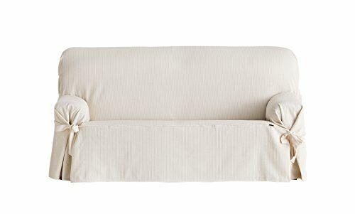 230 Eysa Bianca Universel Canapé Couverture avec rubans 3 Sièges Couleur 01-écru coton