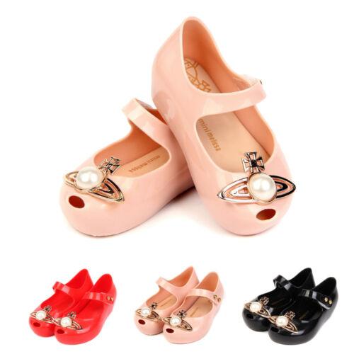 UK Kids Mini Melissa Big Pearl Saturn Girl Jelly Shoes Neptune Sandals Size EUR
