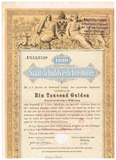 Staatsschuldverschreibung Österreich, Wien 1868, 1000 Gulden