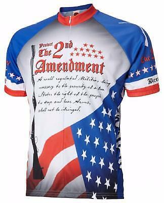 World Jerseys 2Nd Amendment Mens Cycling Jersey White bluee X-Large Bike