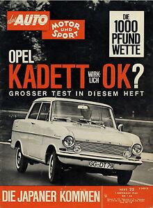 Vornehm Auto Motor Sport 1962 25/62 Opel Kadett A Cony Coach Toyopet Crown Prince Gloria Auto & Motorrad: Teile
