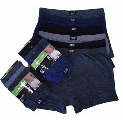 6 Pairs Mens Boxer Shorts Designer Black Fashion Band Underwear. Cotton Rich