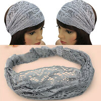 Brand New Women Girls Chic Bandanas Turban Lace Hair Head Wraps Wide Headband