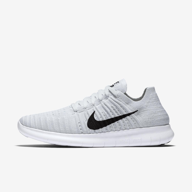 Wmns Nike Free RN Flyknit Sz 7.5-11.5 White Black 831070-101 FREE SHIPPING