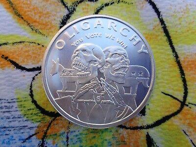 Trump //Clinton  Oligarchy silver shield   1  oz .999 Fine Silver BU round 2016