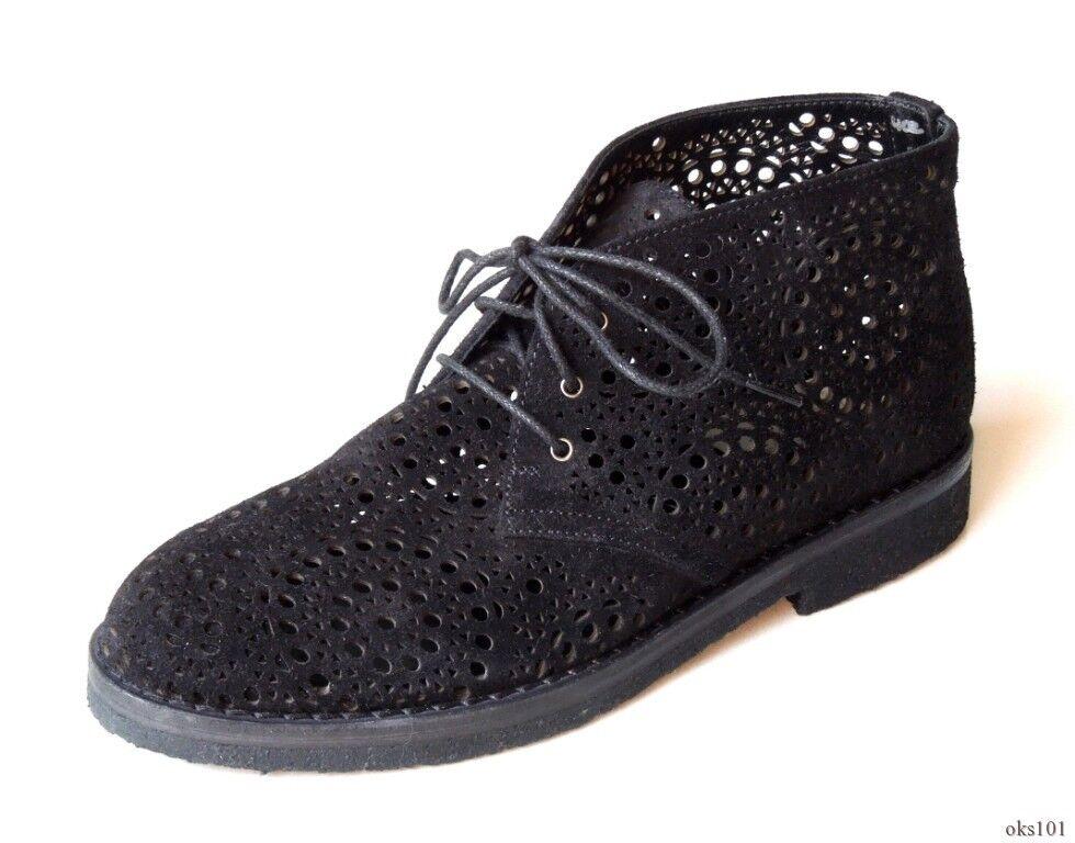New  1150 ALAIA black suede lasercut ANKLE BOOTS shoes 36 US 6 - gorgeous