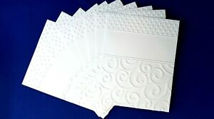 10-SWIRLS-and-DOTS-White-Embossed-A2-Card-Fronts-Recollections-Cardstock-Paper