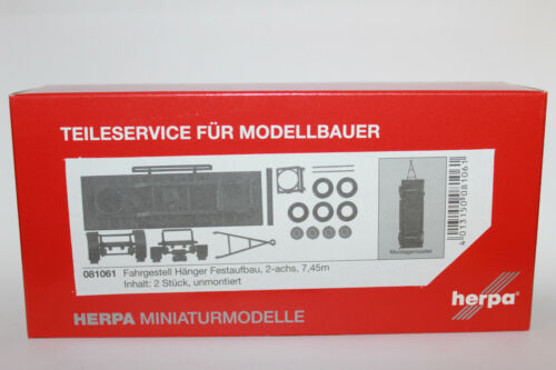 Herpa 081061  Hängerfahrgestell für Festaufbau 2-achs 7,45m 1:87 H0 NEU in OVP