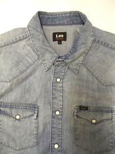 Lee-Western-Denim-Shirt-Herren-Regular-Fit-Poppers-gross-hellblau-LSHT-706
