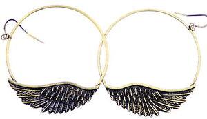 Vintage-retro-style-bronze-angel-wing-on-big-hoop-earrings