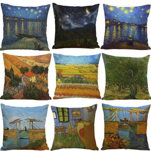 New Oil Painting Linen Cushion Cover Throw Waist Pillow Case Sofa Car Home Decor