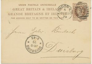GB-1879-QV-1d-brown-VFU-postcard-barred-Duplex-cancel-034-LONDON-E-C-99-034-DUISBURG