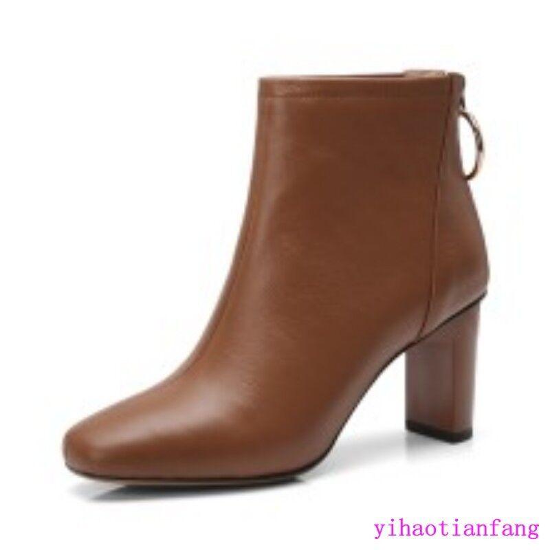 Vintage femmes pointy toe High heel Ankle bottes Solid leather Back Zipper Vogue