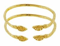 Solid Sterling Silver West-indian Bangle Set Plated With 14k Gold Baby Size (mad
