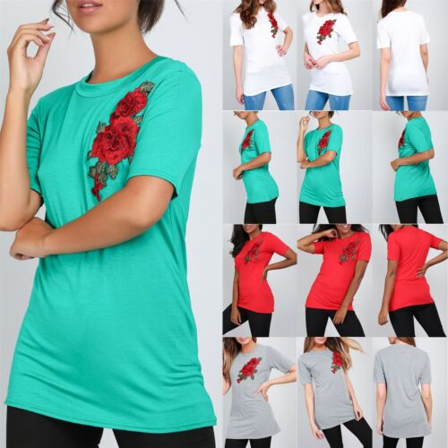 New Ladies Womens Embroidery Roses Flower Jersey Basic Tees T Shirt Stretchy Top