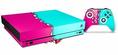 Video Games & Consoles Skin Set For Xbox One X Ripped Colors Hot Pink Neon Teal Faceplates, Decals & Stickers
