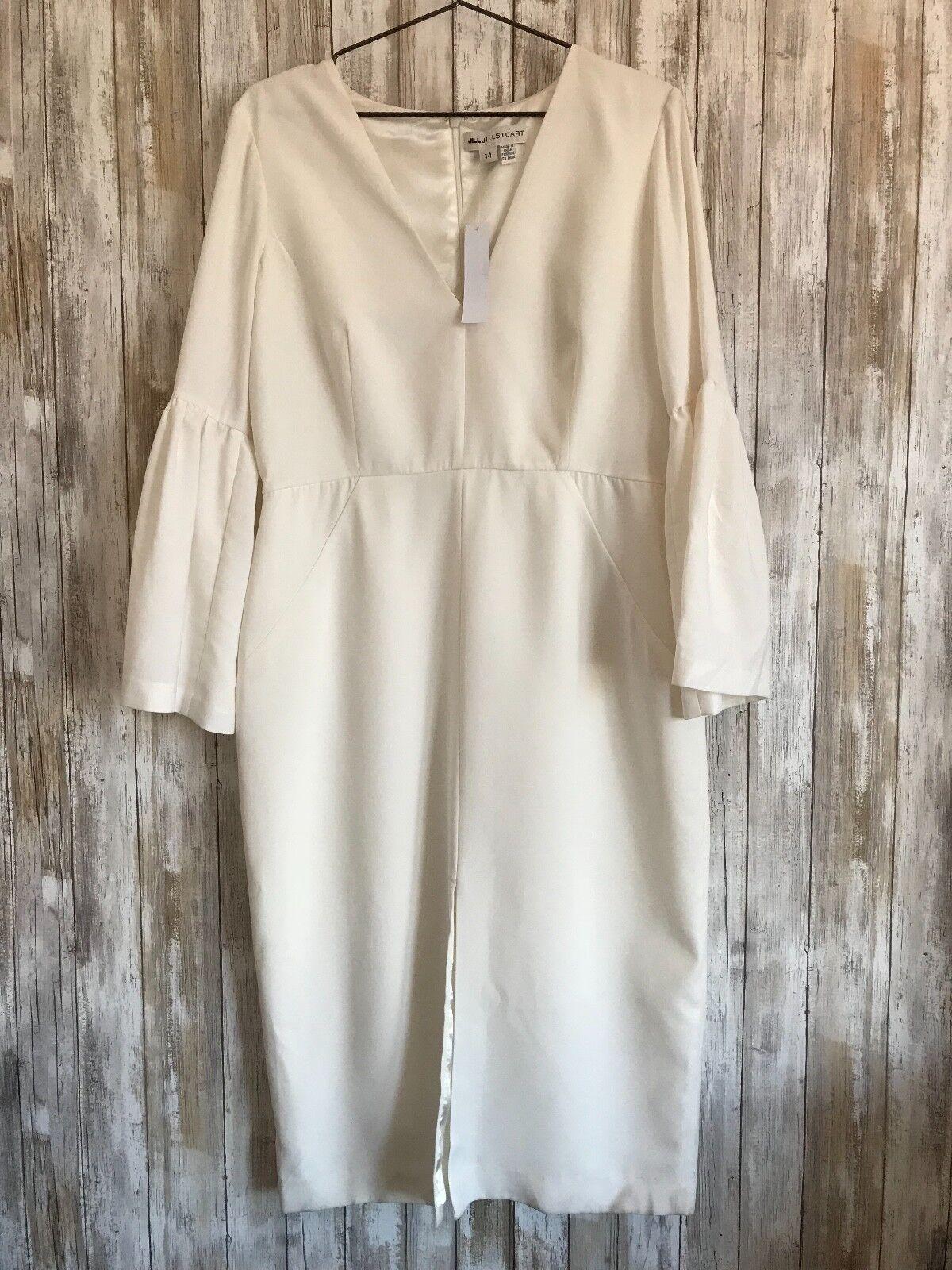 6dc941fba8a Anthropologie JILL Jill Stuart Ivory Off Midi Bell Sleeve Dress Plus 14 NEW
