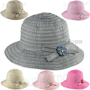 d16fefb3c00 Women Summer Bow-Knot Floppy Bucket Hat Sun Visor Wide Brim Cotton ...