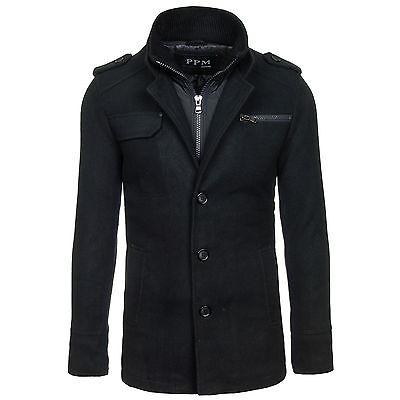 PPM  8856 Herrenmantel Schwarz Herren Mantel Jacke SALE Outdoor Mantel 4D4 Sakko