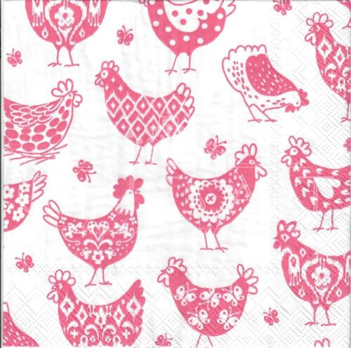 E26 pink//red 4single paper decoupage napkins Easter Easter  chicken,chicks