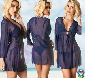 221a86780e03 COQUETA Swimsuit Bikini Cover Up Dress sheer Mesh Tunic Ladies Beach ...