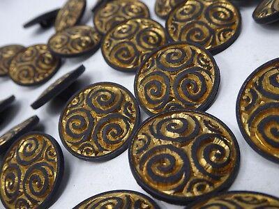 Vintage Gold Embellished Ornate Floral 3D Shank Buttons 17mm Lot of 13 B77-3