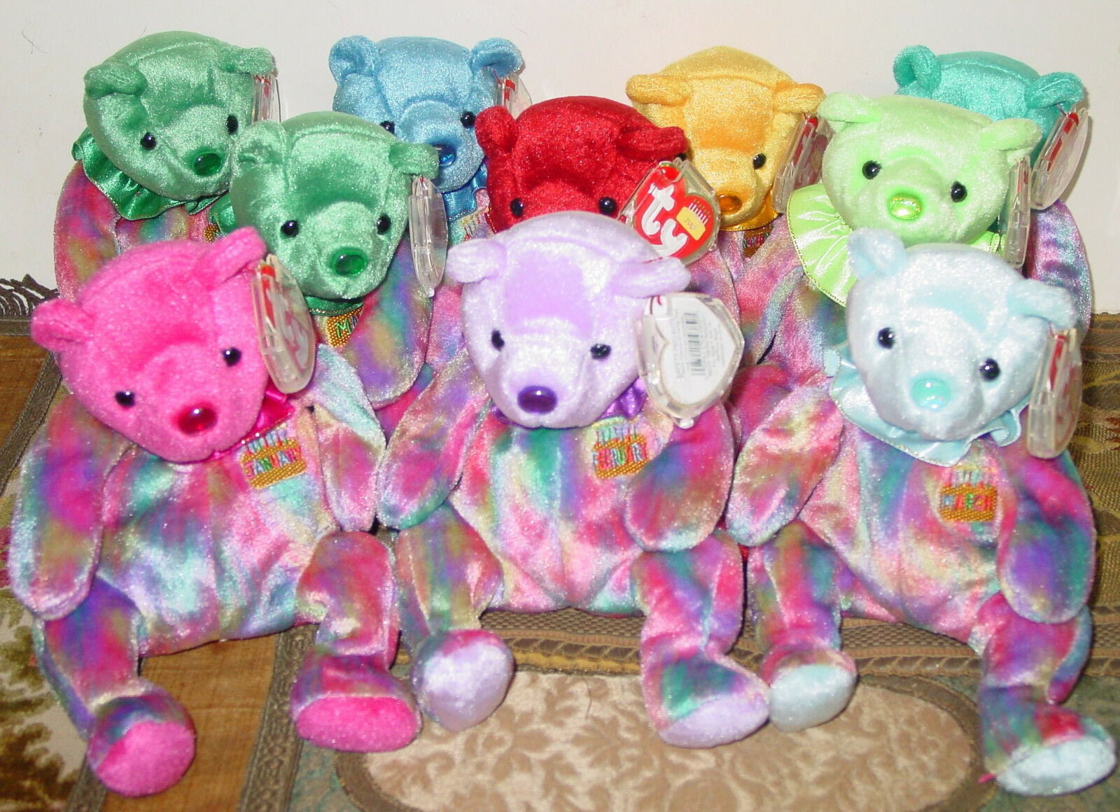 TY 2001 LOT OF TEN VARIOUS ASSORTED BIRTHDAY MONTHS OF PLUSH BEANIE BABY BEARS